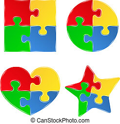 vektor, alakzat, közül, kirakós játék, darabok