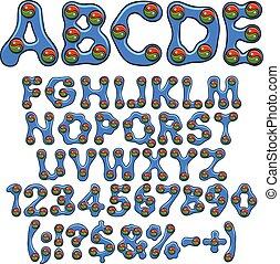 vektor, alapismeretek, abc, szín, yin, elszigetelt, yang., négy, állhatatos, számok, cégtábla, objects.