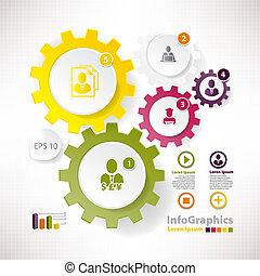 vektor, alapismeretek, cogwheels, modern, infographics