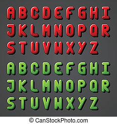 vektor, alfabet, font, skinnende