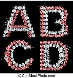 vektor, alfabetisk, diamant, sätta, letters.