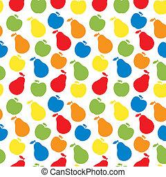 vektor, alma, körte, motívum, -, seamless, gyümölcs