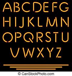 vektor, alphabet., illustration., nein, rohr, neon, freigestellt, letters., hintergrund., masche, schwarz, realistisch, used.