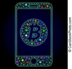 vektor, ambulant, chistmas, bitcoin, pletter, polygonal, glødende, mesh, bank
