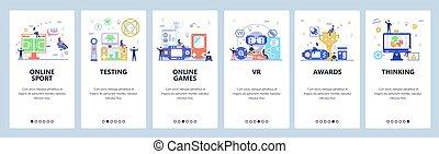 vektor, ambulant, esports, skabelon, website, skærme, app, onboarding