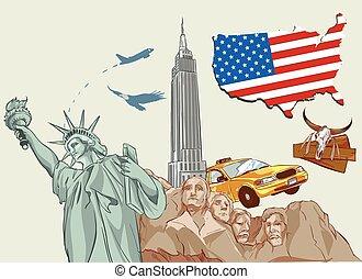 vektor, amerika, ábra