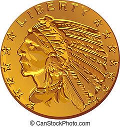 vektor, amerikan, guldmynt, dollar