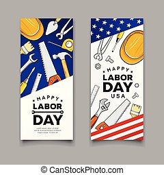vektor, amerikanische , arbeit, fahne, baugewerbe, werkzeuge, tag, glücklich