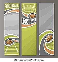 vektor, amerikanische , fußball, banner, senkrecht