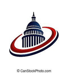 vektor, amerikanische , logo, kreativ, gebäude, einfache , kapitol, design