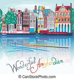 vektor, amsterdam, canal, og, typiske