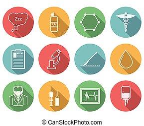 vektor, aneszteziológia, színezett, ikonok