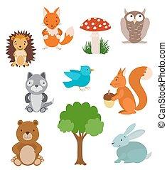 vektor, animals., samling, træ, cute, cartoon, sæt, mushroom., skov