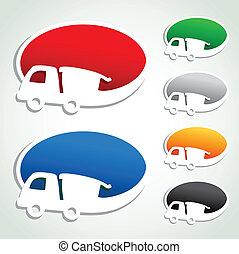 vektor, annons, bubblar, med, bil