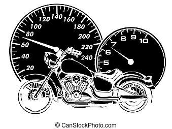 vektor, ansicht, zerhacker, brennender, reiten, fahrrad, ...