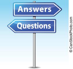 vektor, antworten, fragen, zeichen & schilder