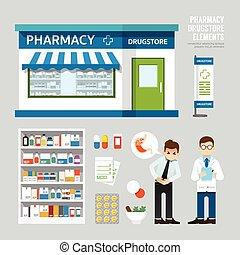 vektor, apotek, drugstore, sæt formgiv, shop, butik, pakke,...