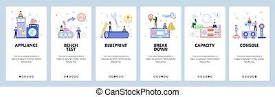 vektor, app, konsol, lejlighed, hjem, batteri, charge, site, website, development., apparater, transportable, gaming, onboarding, væv formgiv, ambulant, screens., toy., banner, skabelon, elektroniske, illustration