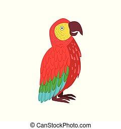 vektor, ara, papegoja, illustration, röd