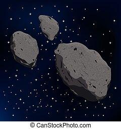 vektor, asteroid, meteorite., illustration