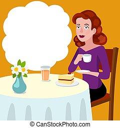 vektor, asztal, nő, kávéház, karikatúra