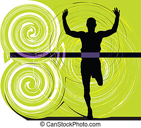 vektor, athlet, abbildung