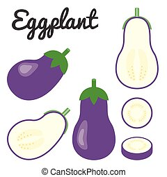 vektor, aubergine, satz, gemüse, fruechte