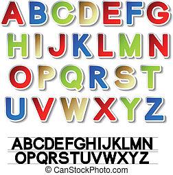 vektor, aufkleber, von, alphabet