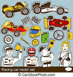 vektor, autó, állhatatos, versenyzés