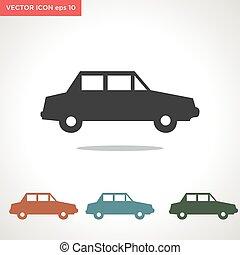 vektor, autó, fehér, ikon, elszigetelt, háttér