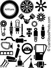 vektor, autó, parts., állhatatos, cégtábla