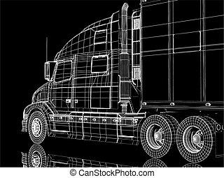 vektor, autó