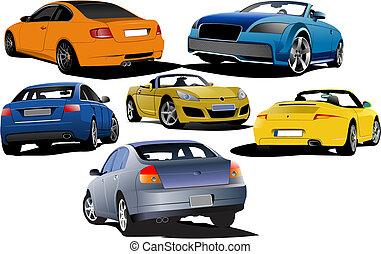 vektor, autók, hat, illus, road.