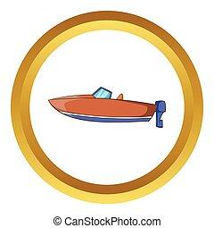 vektor, autózik hajózik, ikon