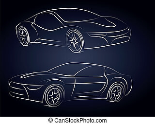 vektor, auto, silhouetten