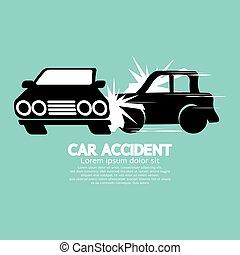 vektor, autos, unglück, zwei, abbildung