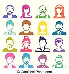 vektor, avatar, színes, ikonok