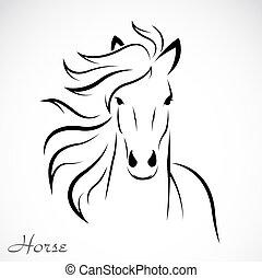 vektor, avbild, av, en, häst