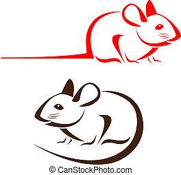 vektor, avbild, av, en, råtta