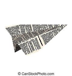 vektor, avis, flyvemaskine, hvid, plane., avis, illustration., baggrund.