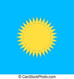 vektor, avis, sol, klar, gul, ikon, på, den, himmel, origami, style.