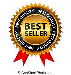 vektor, bäst, säljare, guld, underteckna, etikett, mall