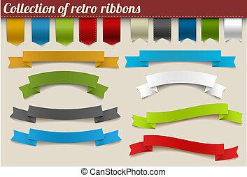 vektor, bånd, samling, farverig, retro