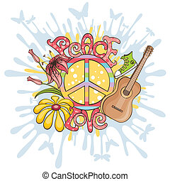 vektor, béke, szeret, ábra