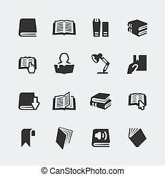 vektor, bøger, og, læsning, mini, iconerne, sæt