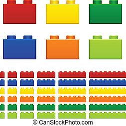vektor, børn, plastik, mursten, stykke legetøj