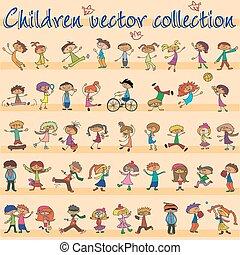 vektor, børn, samling