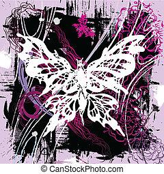 vektor, backgroung, med, fjärilar