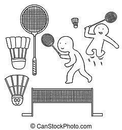 vektor, badminton, sæt
