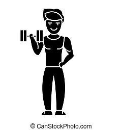 vektor, baggrund, ikon, isoleret, gymnastiksal, mand, vægte, tegn, udøvelser, stærke, illustration